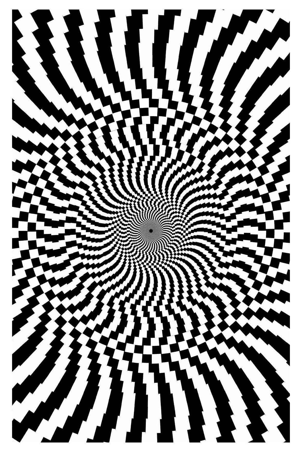 Op art big art optique coloriages difficiles pour adultes - Coloriage illusion d optique ...