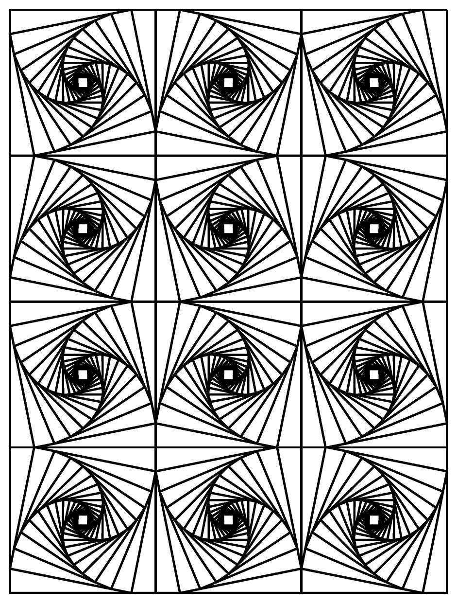 Op art illusion optique 3 art optique coloriages - Coloriage illusion d optique ...