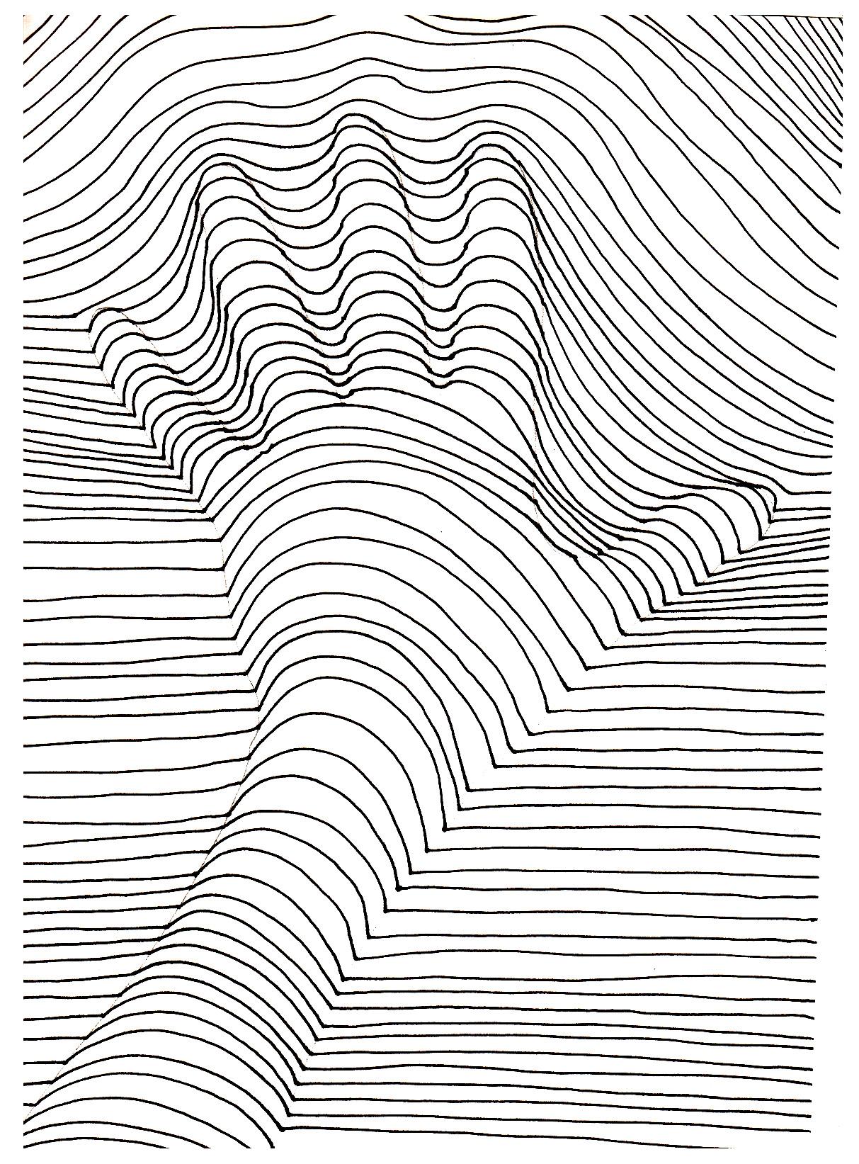 Op art illusion optique main art optique coloriages - Coloriage illusion d optique ...