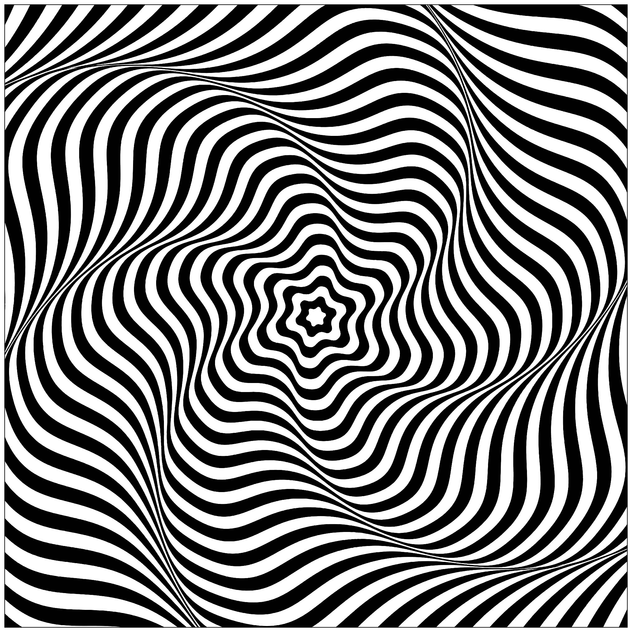 Op art impression mouvement rotation art optique coloriages difficiles pour adultes - Mini coloriage illusion d optique ...