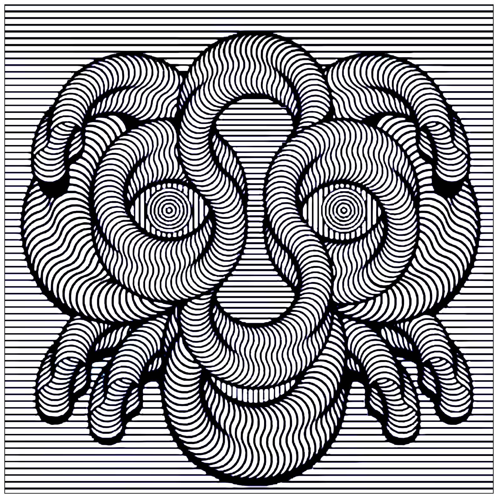 Visage Hypnotique Art Optique Coloriages Difficiles