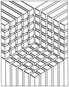 coloriage illusion optique carres