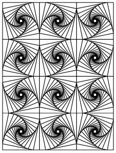 Coloriage op art illusion optique 3