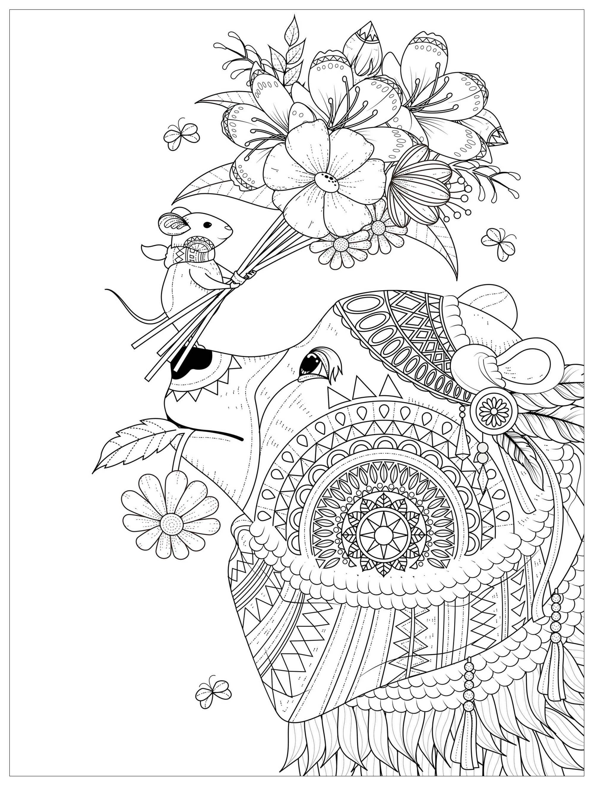 Souris offrant un joli bouquet de fleur à un ours malicieux