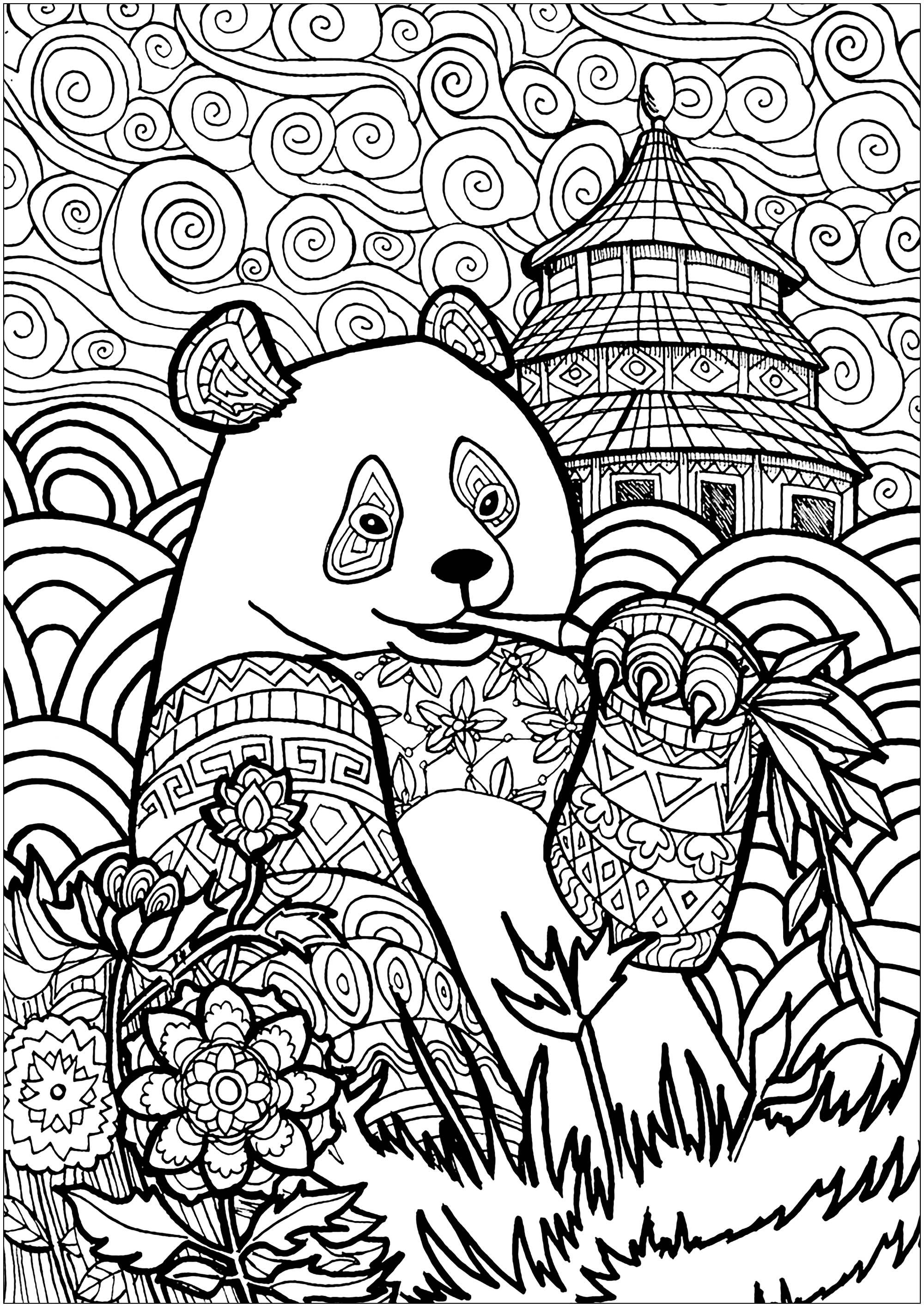Panda mangeant du bambou, avec joli ciel et beaux motifs