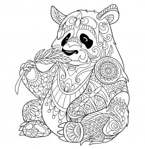 Coloriage panda mangeant une pousse de bambou