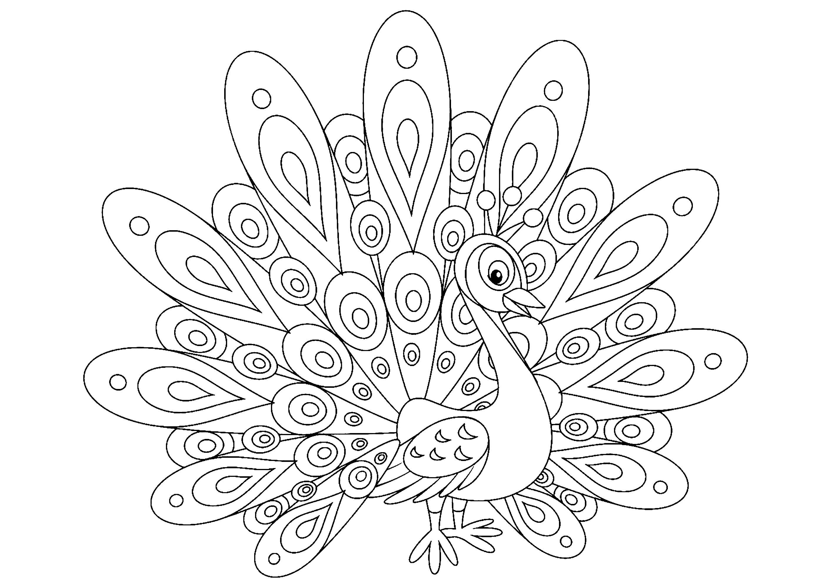 Simple dessin de paon à colorier, au style très enfantin