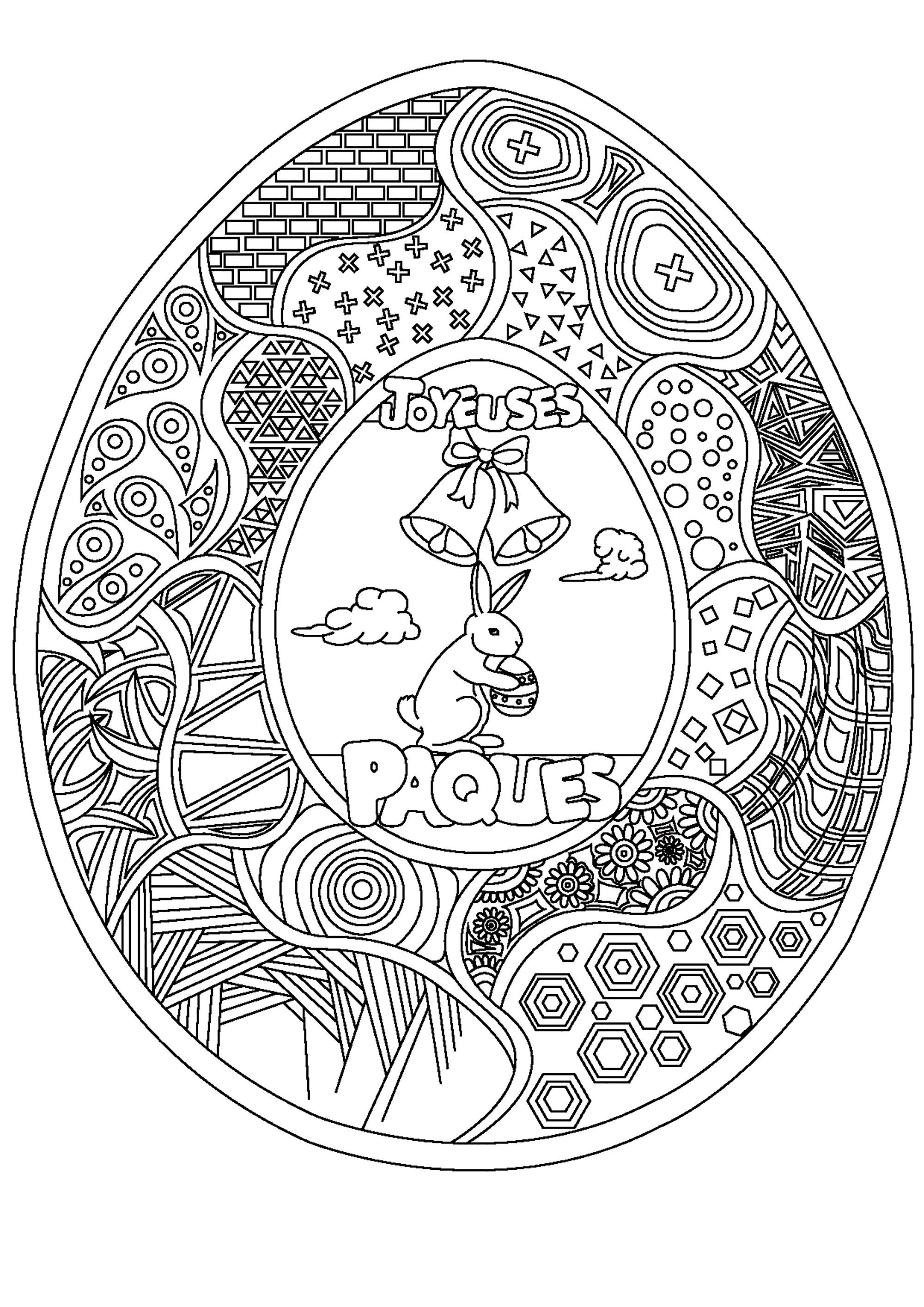Coloriage d'oeuf de Pâques avec nombreux motifs, un joli lapin et deux cloches