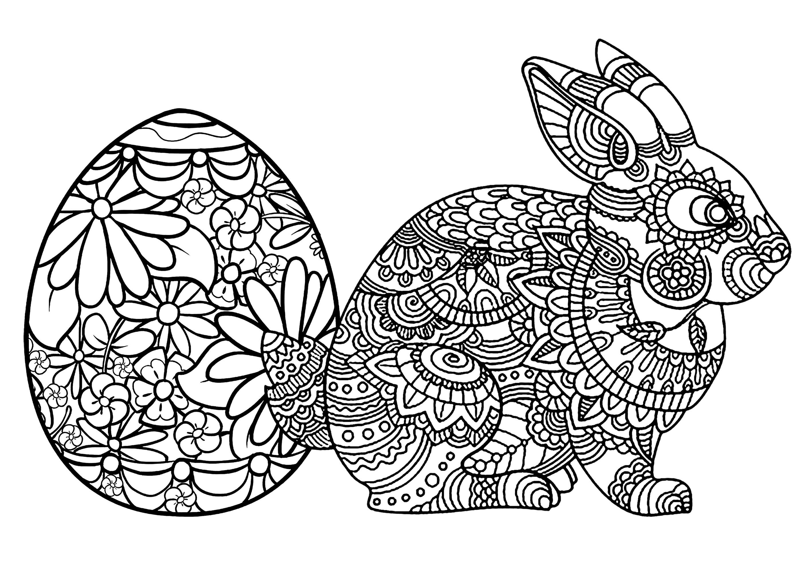 Oeuf et lapin de paques p ques coloriages difficiles - Coloriage lapin paques ...