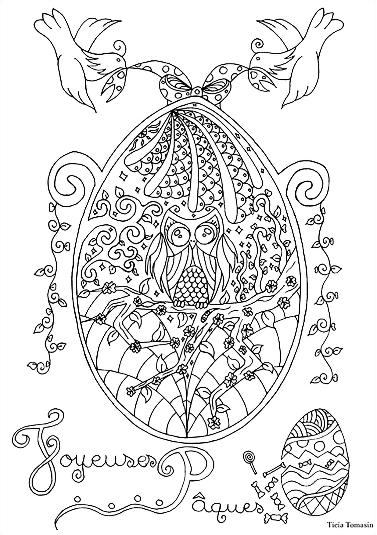 Coloriez de joli oeuf de pâques avec un beau hibou et des hirondelles