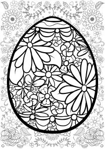 Coloriage oeuf de paques avec fond fleuri