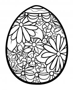 Coloriage oeuf de paques fleuri