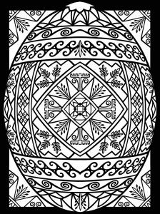Coloriage oeuf paques avec large bordure 1