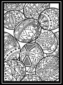 Coloriage oeuf paques avec large bordure 2