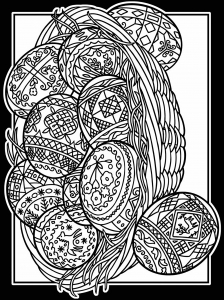 Coloriage oeuf paques avec large bordure 3