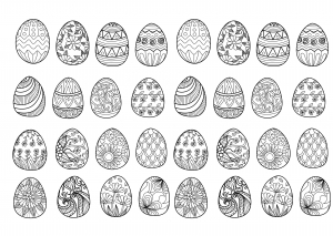 Easter eggs for coloring book free to print