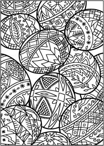 Coloriage oeufs paques et motifs