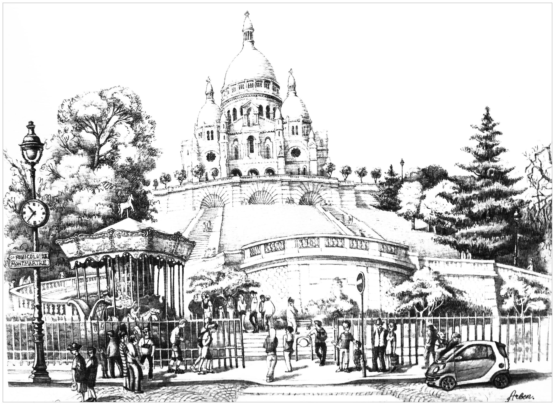 Un dessin représentant La basilique du Sacré-Cœur de Montmartre, dite du Vœu national, située au sommet de la butte Montmartre. Un dessin envoyé par une utilisatrice du site, merci :)