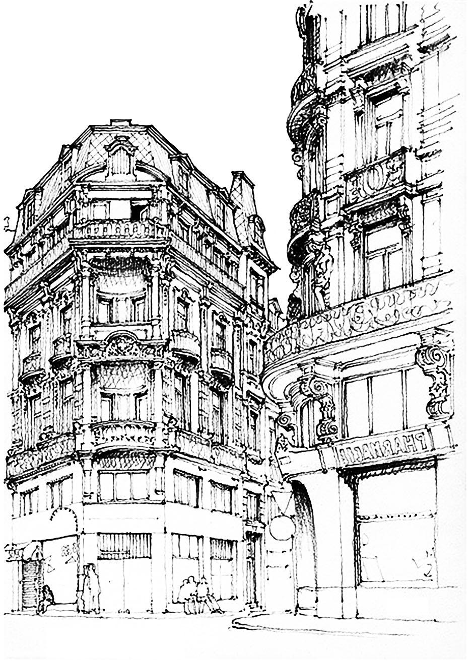 Dessin d une rue de Paris