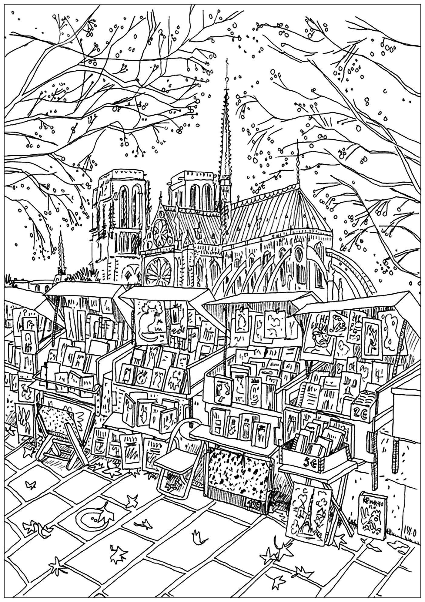 Dessin de Notre de Dame de Paris, avec une petite librairie ambulante en premier plan