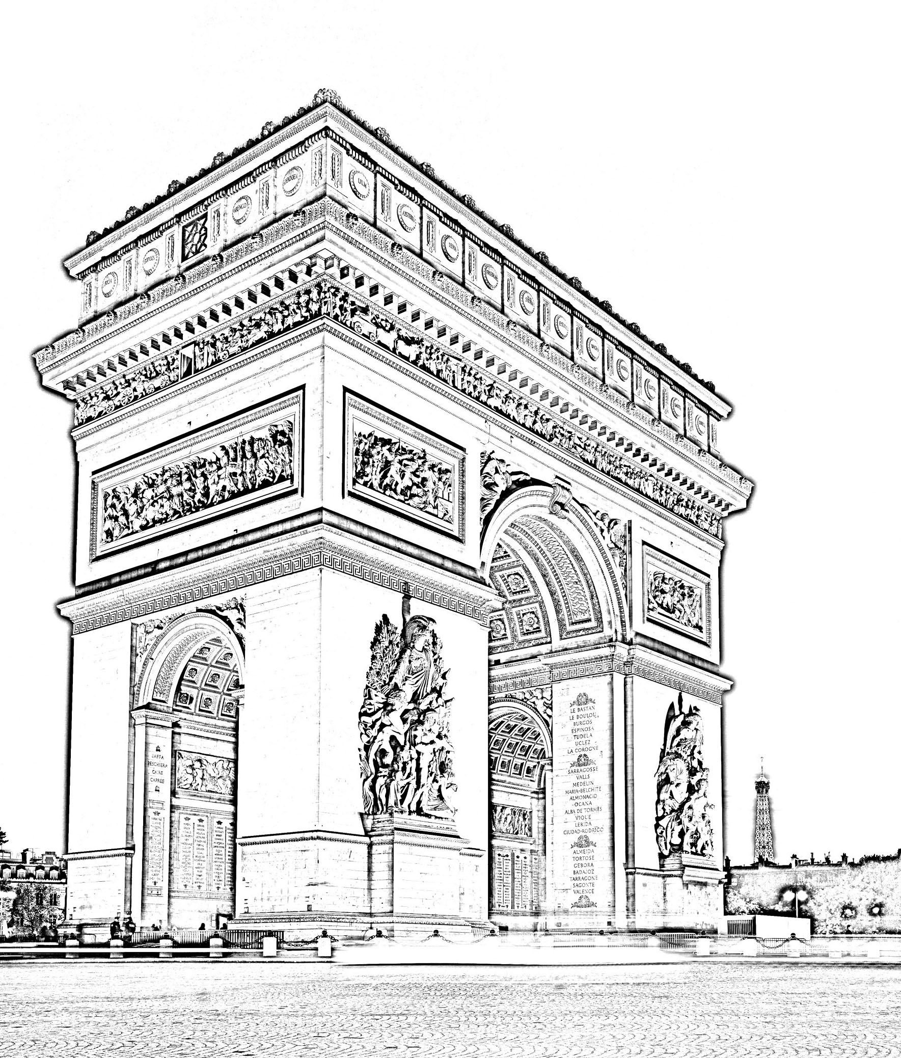 Paris arc triomphe paris coloriages difficiles pour for Dessin batiment 3d