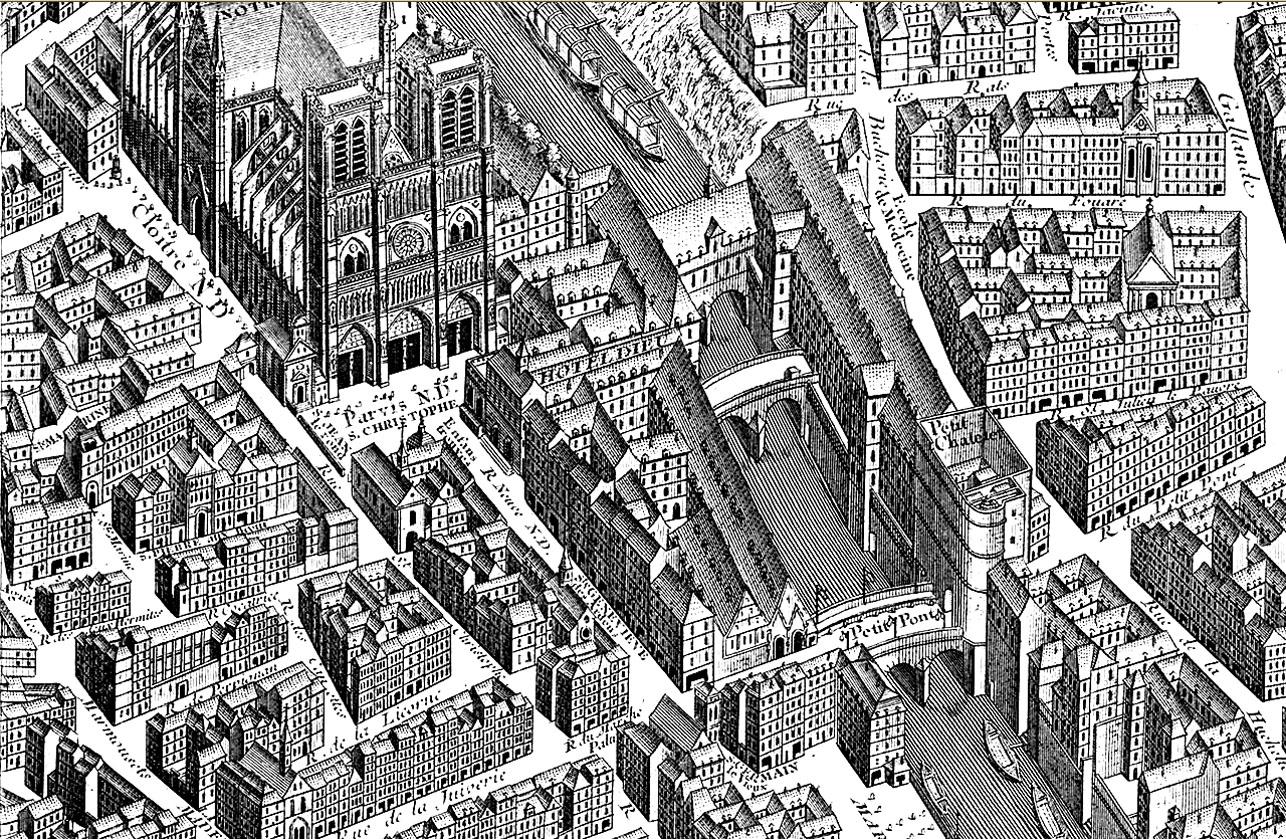 Représentation aérienne ancienne du quartier de Notre Dame, sur l'île de la Cité, Ruelles et bâtiments dessinés de manière très minutieuse, pour un Coloriage qui sera très intéressant à réaliserA partir de la galerie : Paris