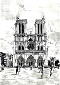 coloriage-dessin-notre-dame free to print