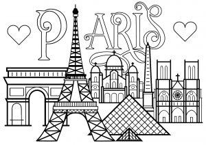 Paris : Monuments célèbres et texte