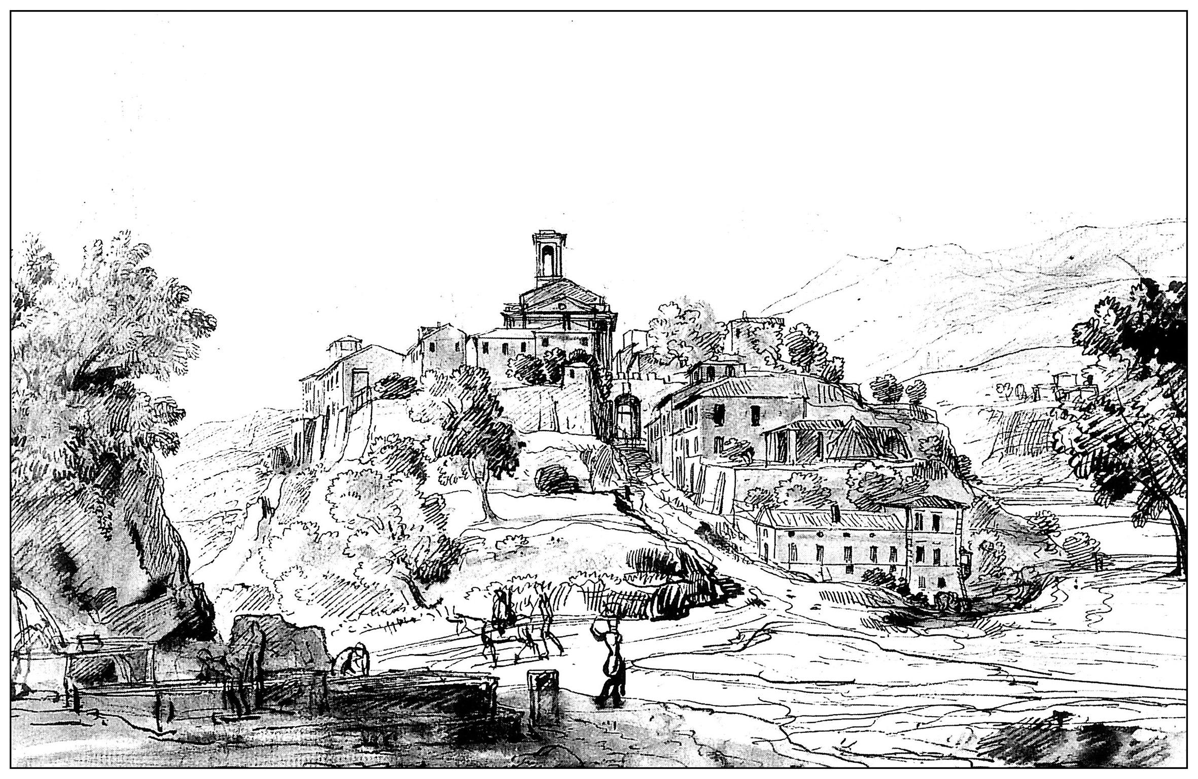 coloriage adulte gravure vanvitelli vue d un bourg du latium 18e siecle