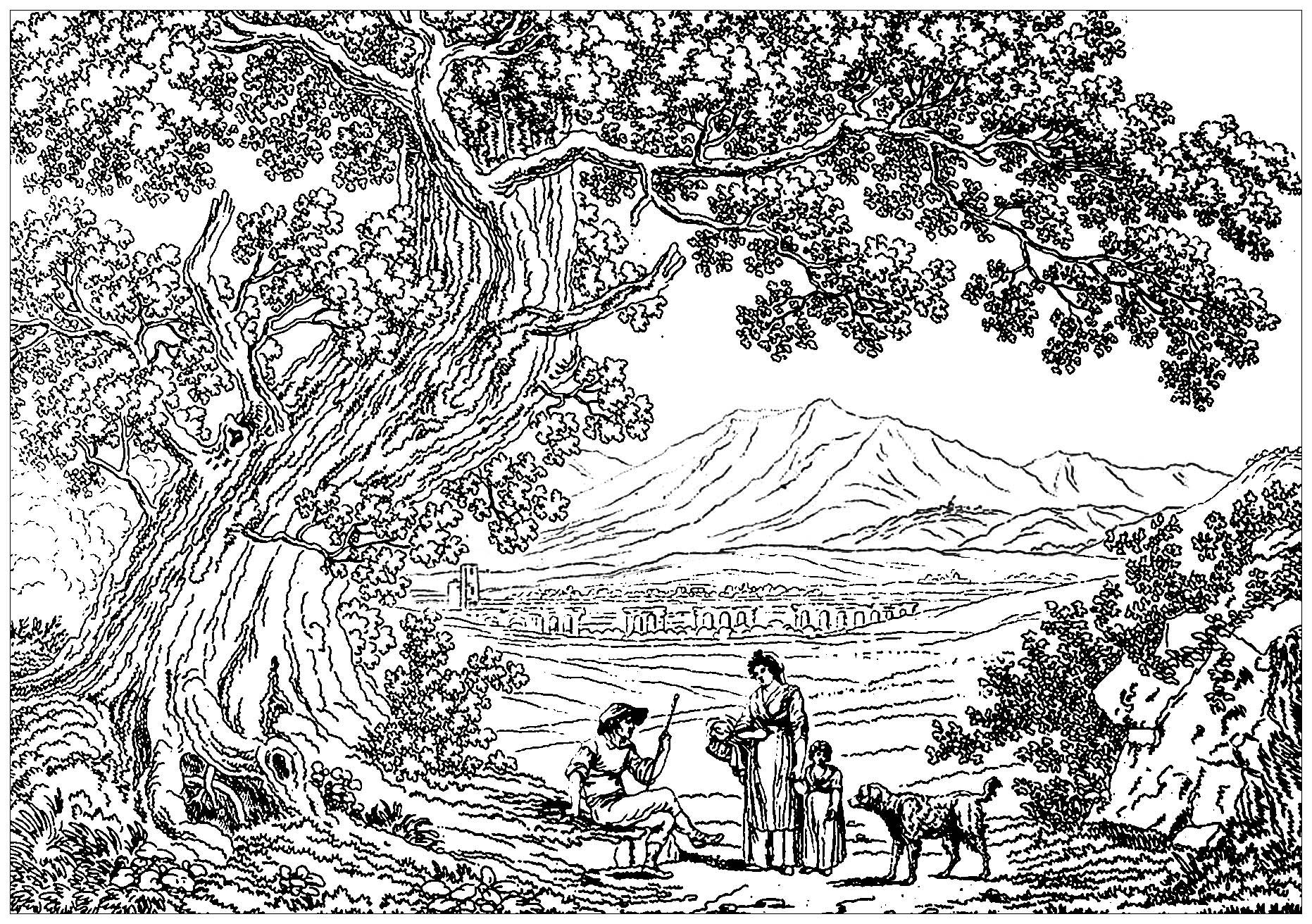 Paysage italie philippe hackert paysages coloriages - Dessin a colorier paysage ...