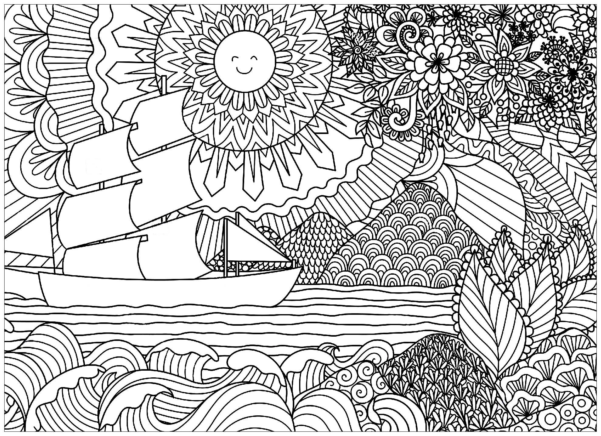 Paysage Marin Avec Bateau Et Soleil Paysages Coloriages