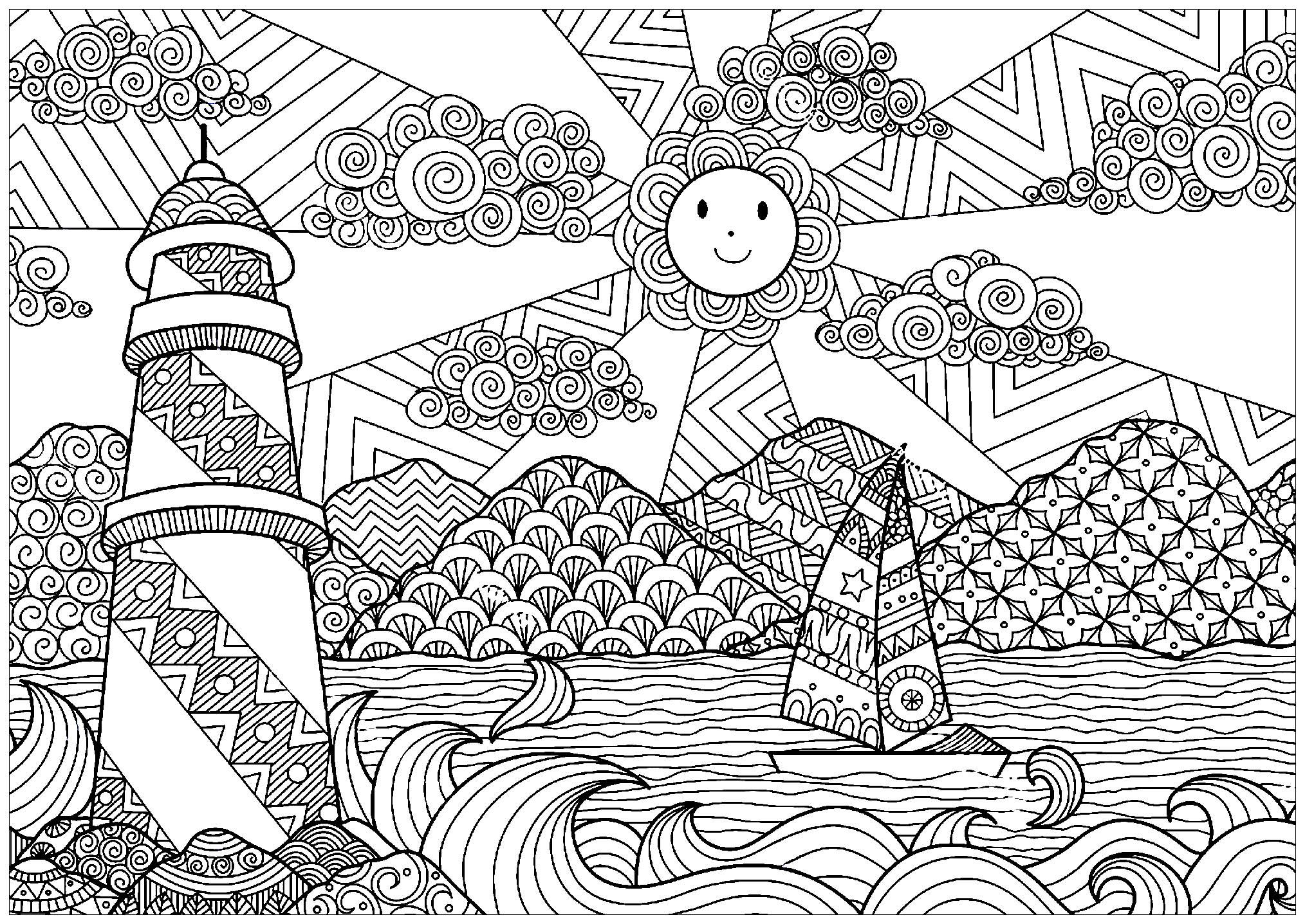 Paysage marin avec phare et soleil paysages coloriages - Dessin a colorier paysage ...
