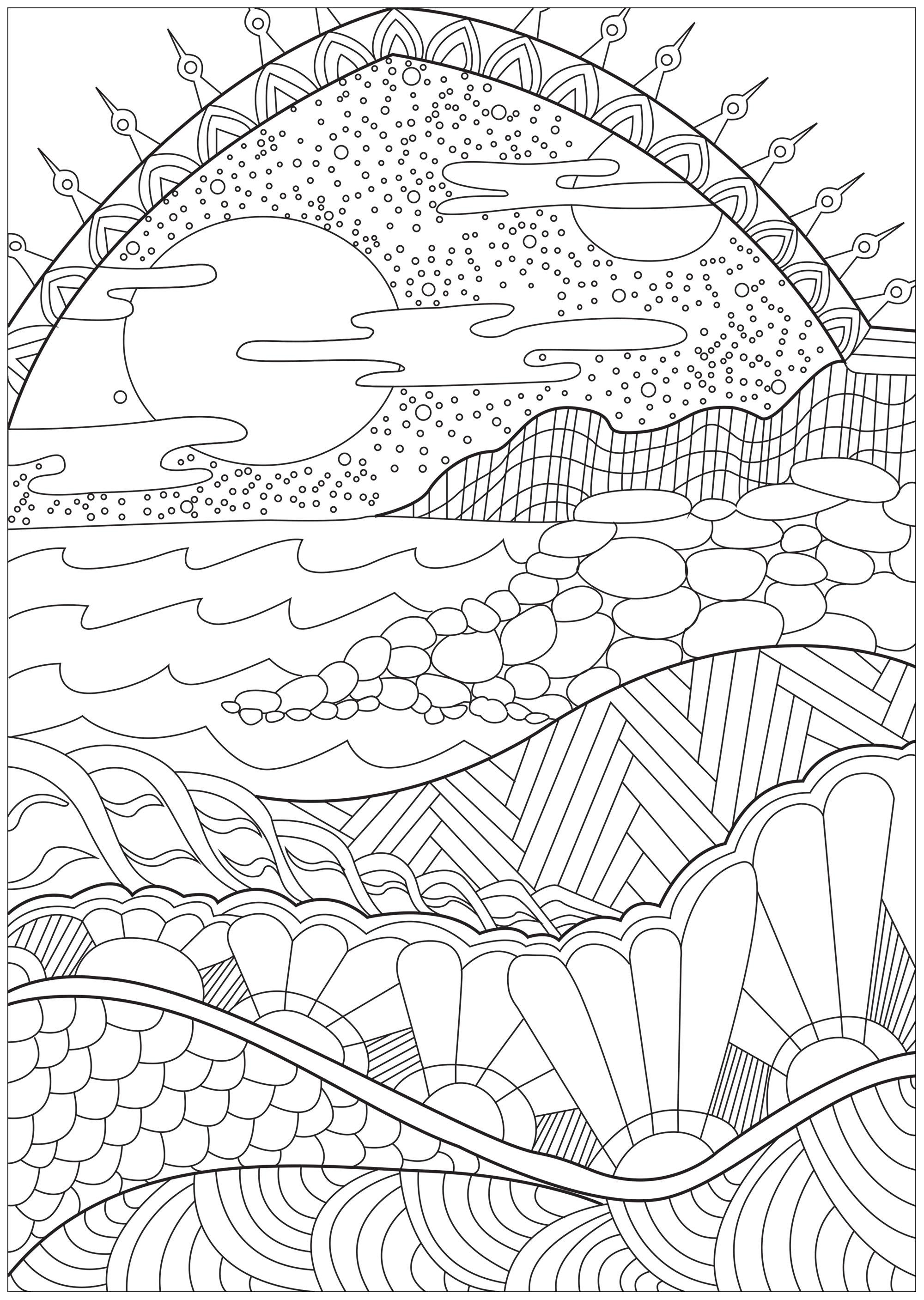 Coloriage Paysage Arc En Ciel.Paysage Paradisiaque Paysages Coloriages Difficiles Pour Adultes