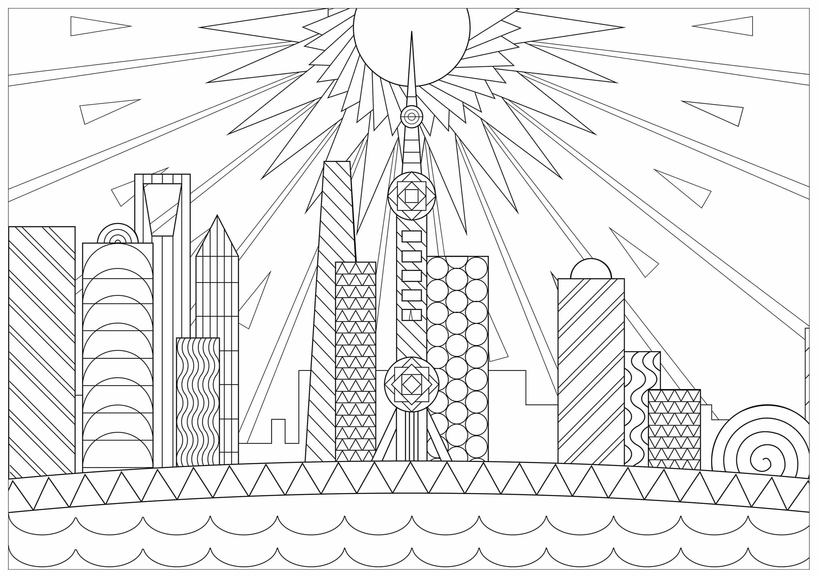 Shanghai est la plus grande ville de Chine par sa population et la deuxième ville la plus peuplée du monde. Coloriez cette belle vue de la ville, avec un magnifique soleil en arrière-plan.