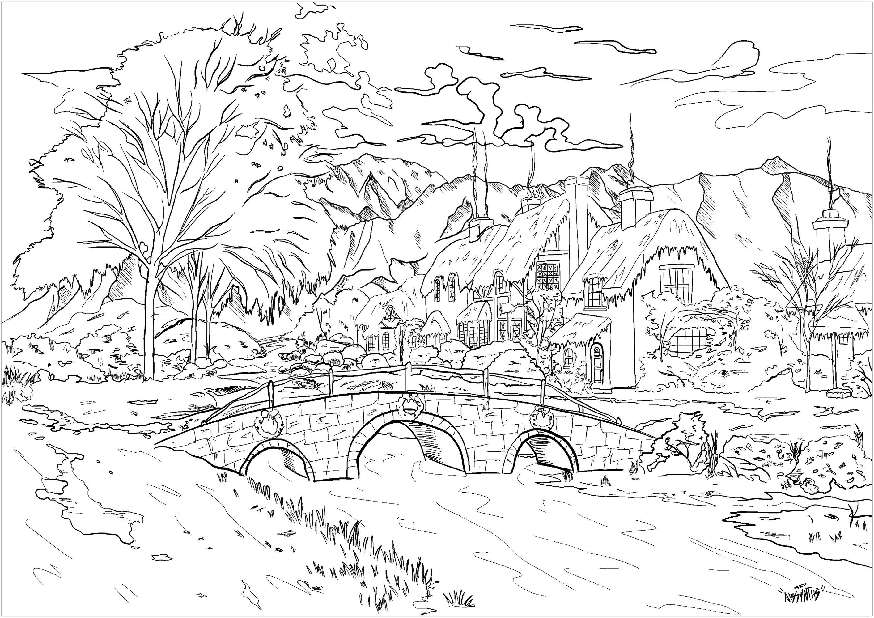 Coloriez ce beau village imprégné de l'esprit de Noël ... avec son joli pont, ses belles chaumières aux cheminées fumantes ... de grans arbres et une chaîne de montagne en arrière plan complètent le tableau