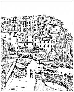 Coloriage italie cinque terre