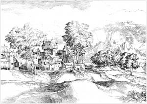 Coloriage paysage 17e siecle