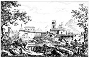 Coloriage paysage avec basilique par gaspard dughet