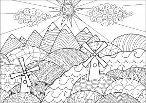 Paysage avec moulins