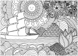 Coloriage paysage marin avec bateau et soleil