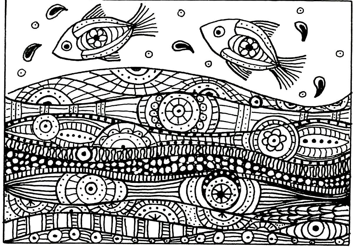 Deux poissons vagues motifs
