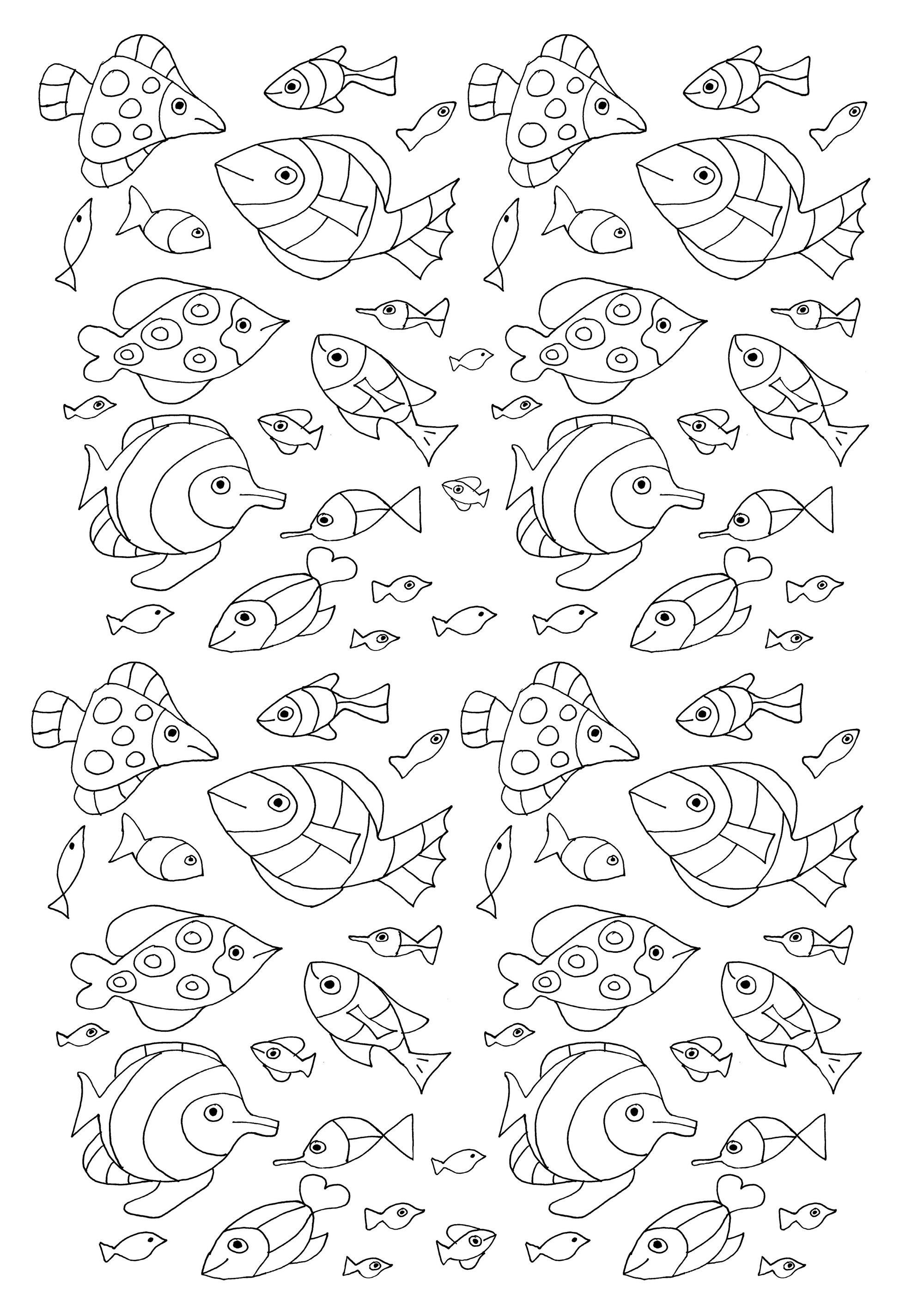 100 petits poissons à coloriage