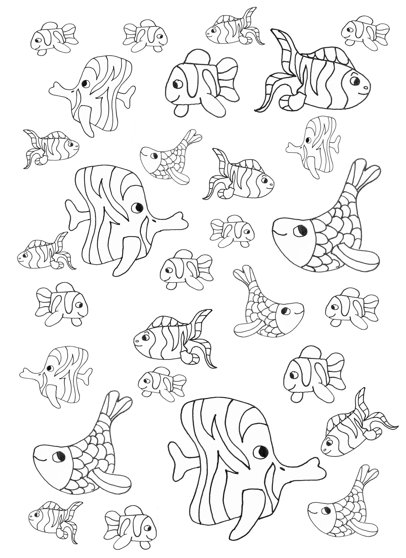 Petits poissons poissons coloriages difficiles pour - Coloriage de poisson ...