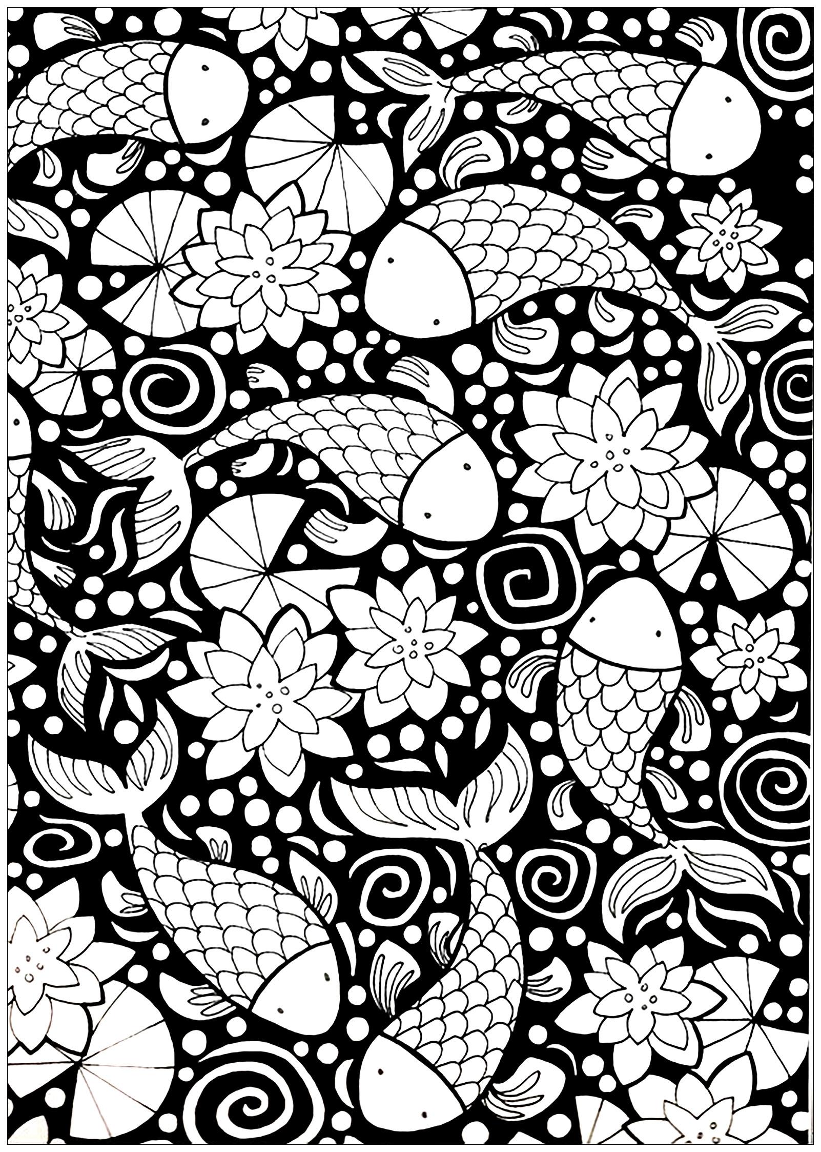 Poissons sur un fond noir poissons coloriages - Poissons a colorier ...