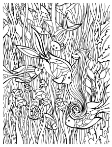 Coloriage adulte poisson details