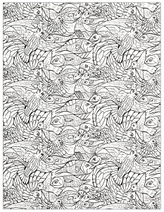 Coloriage adulte poissons 2