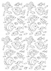 Coloriage gratuit 100 poissons