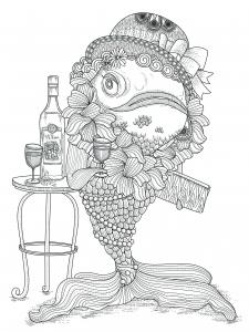 Coloriage poisson avec chapeau