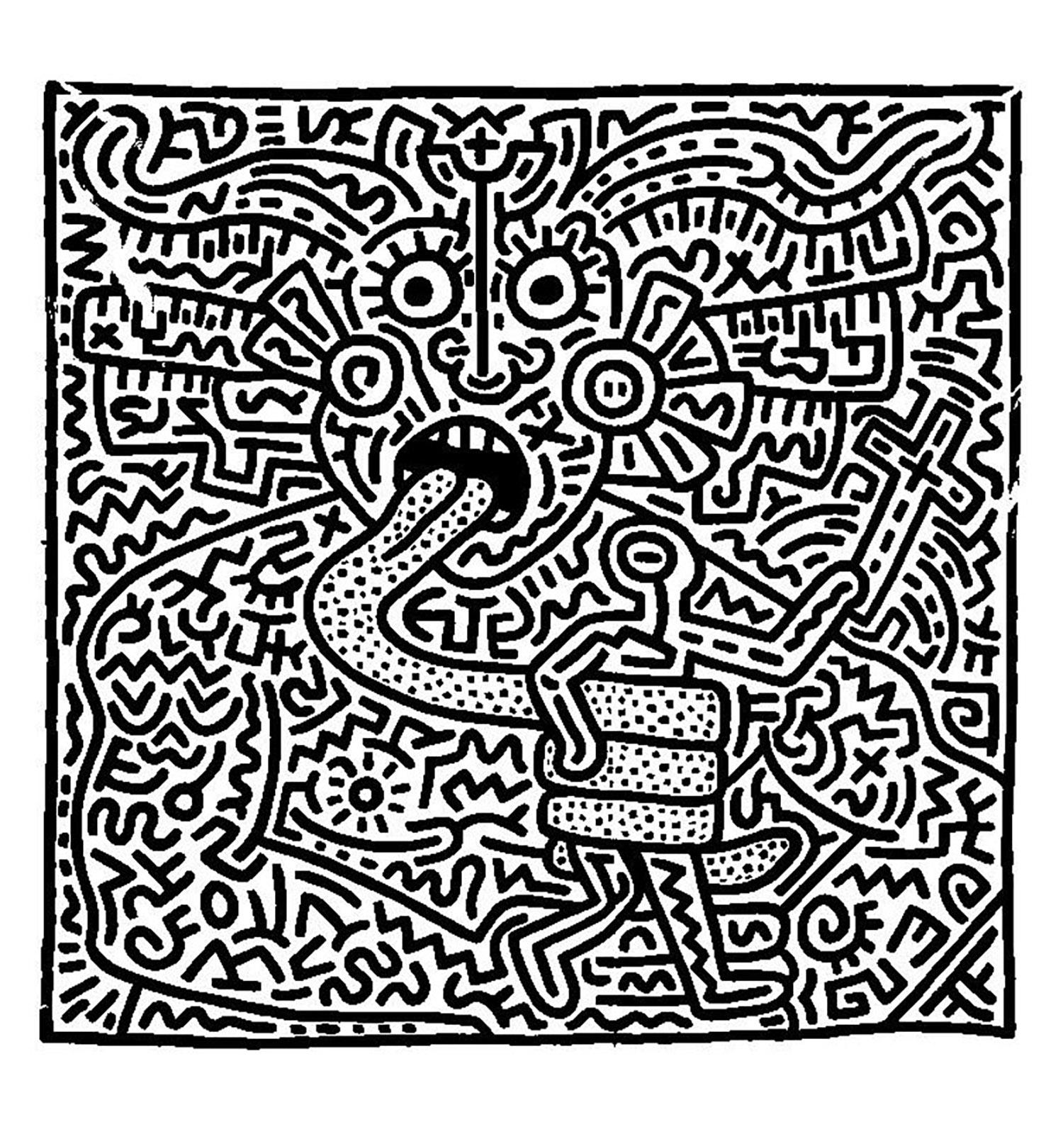 Coloriage créé à partir d'une oeuvre de Keith Haring. Étrange ...
