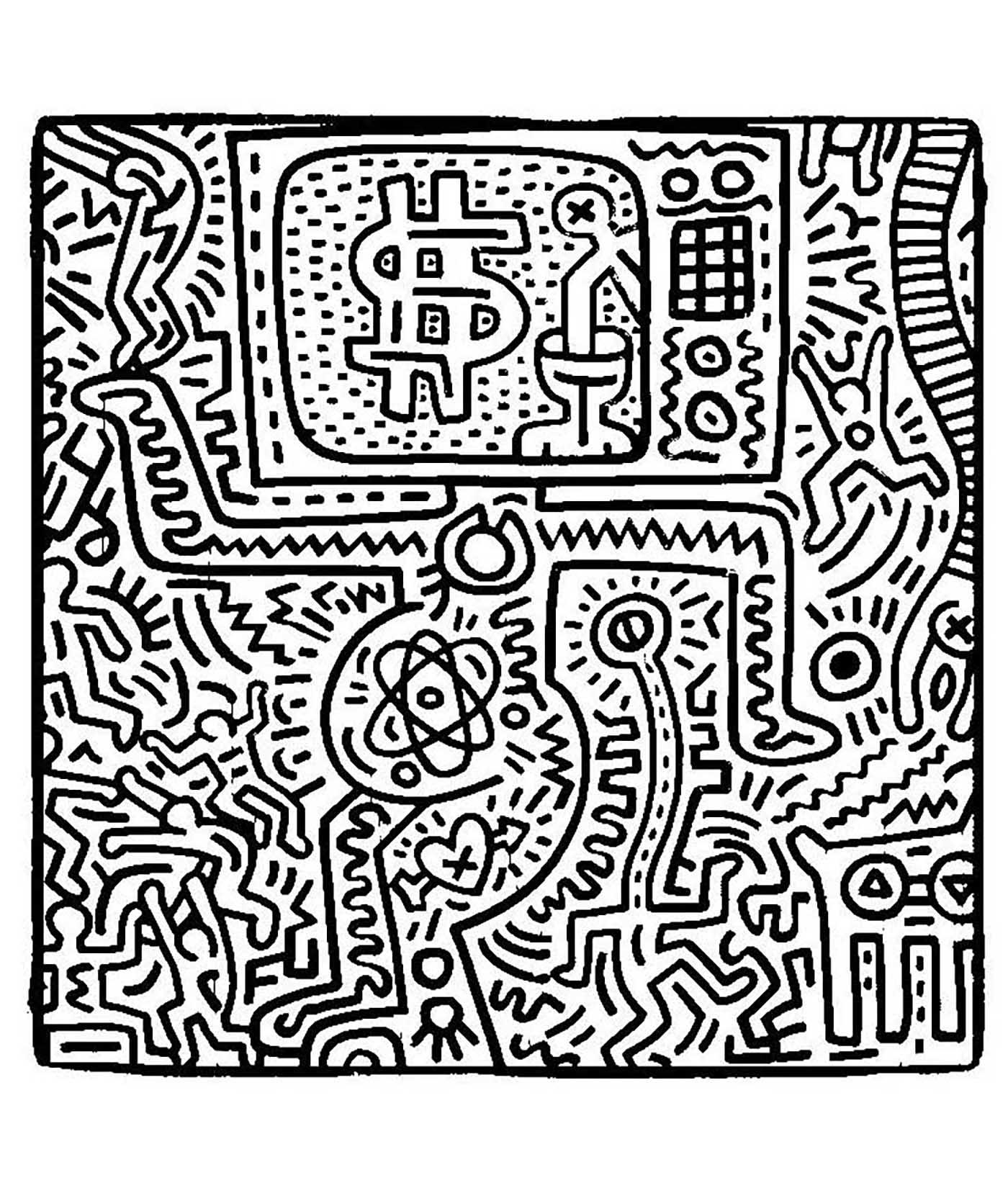 Coloriage créé à partir d'une oeuvre de Keith Haring. Une oeuvre pleine de symbolique